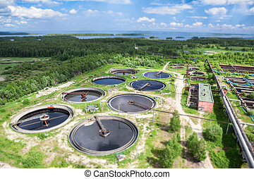 Top view of treatment of industrial wastewater