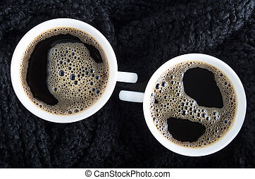 Top view of two small cups of coffee