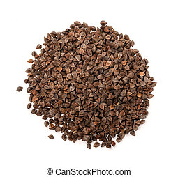 Top view of unhulled buckwheat pile isolated on white