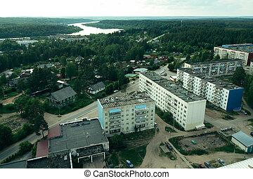 Top view of urban village in Leningrad region, Russia.