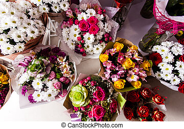 Top view of variaty of bouquets