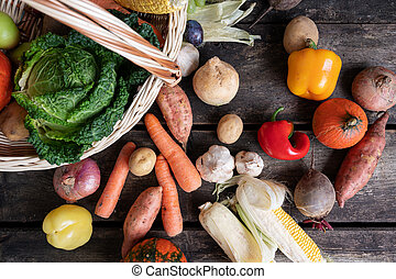 Top view of various autumn vegetables in a wicker basket
