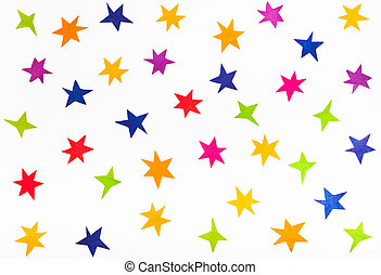 top view of various stars cut out from color paper
