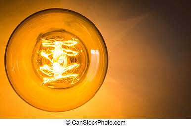 Top view of vintage glowing light bulb