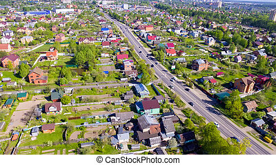 Top view of Volokolamsk highway passing through the village near Moscow