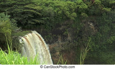 Top view of wailua waterfall on Kau