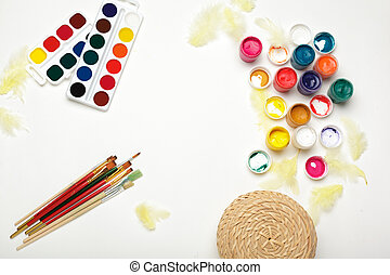 Top view of Watercolor Painting Supplies, Brushes and Colorful Pencil.