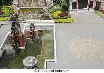 Top view of waterwheel in garden