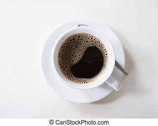 Top view of white cup of coffee