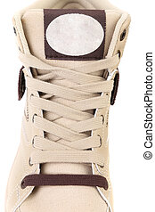 Top view of white laces sneakers. Isolated on white ...