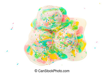 top view of white melting scoop of ice cream with rainbow glaze and sprinkles isolated on white background, summer creative concept