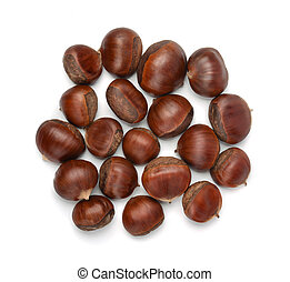 Top view of whole shelled raw chestnuts