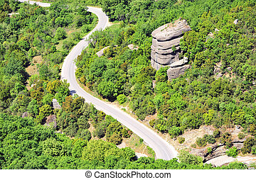 Top view of winding road in the forest