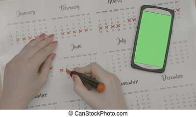 Top view of woman hands marking period dates on calendar...