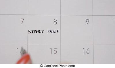 Top view of woman hands writing start diet again in calendar...