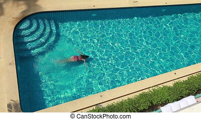 Top View Of Woman In Pool