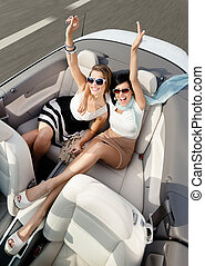 Top view of women in the car with their hands up