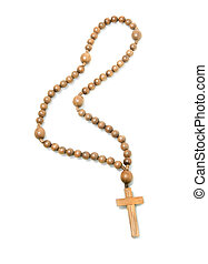 Top view of Wooden rosary beads