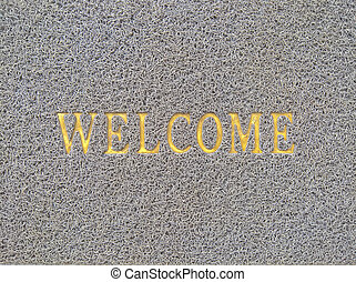 "Top view of word ""WELCOME"""