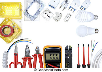 Top view of work tools and components for residential electrical installation on white background.
