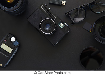 Top view of workplace Photographer
