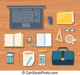 Top view of workplace with laptop, briefcase, calculator, smartphone, stationery and documents