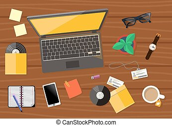 Top view of workplace with laptop and devices