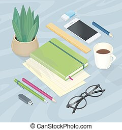 Top View of Workplace with Office Supplies