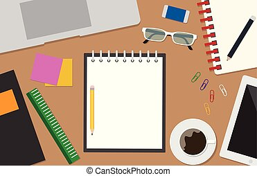 Top view of workspace vector set with stationery office on desk background - Vector illustration
