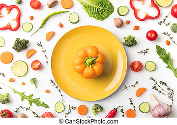 yellow bell pepper on plate
