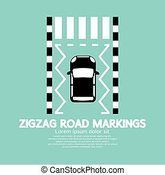 Top View Of Zigzag Road Markings Vector Illustration