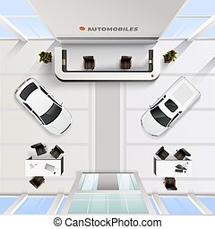 Top View Office Interior Of Automobile Salon - Isometric top...