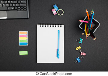Top view office supplies