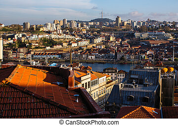 Top view old downtown of Porto - Portugal.