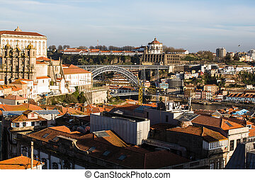 Top view old downtown of Porto, Portugal.