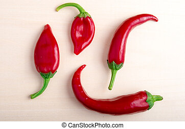 Top view on a hot red chili peppers