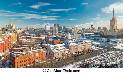 Top view on a winter city Moscow timelapse. Urban landscape with a frozen river
