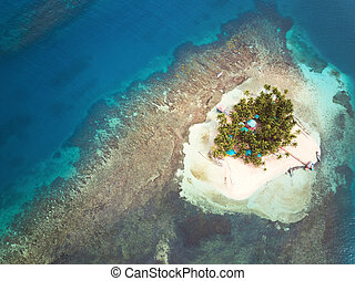 Top view on caribbean island