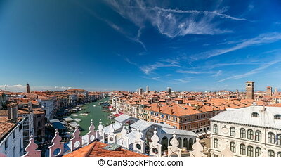 Top view on central busy canal in Venice timelapse, on both...