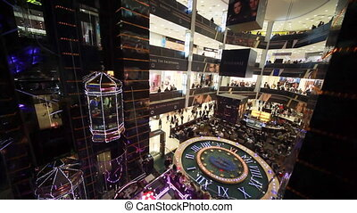 Top view on central hall with elevators of shopping center European in Moscow
