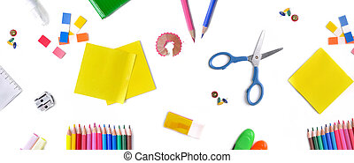 top view on group of colorful school supplies on white background