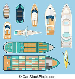 Top view on isolated boats or ships - Set of isolated boats...