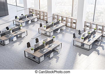 Top view on modern open space office with comfortable workplaces with wooden tables, big windows and high ceiling