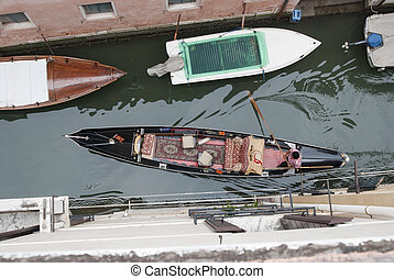 Top View On Moving Gondola In Canal
