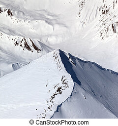 Top view on off-piste slope. Caucasus Mountains, Georgia,...
