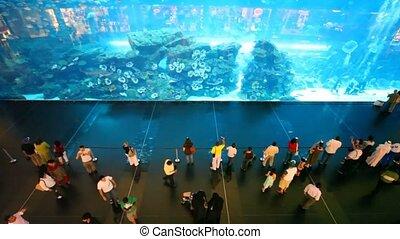 Top view on people near aquarium inside Dubai Mall in Dubai, UAE.