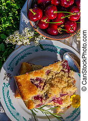 Top view on piece of cherry cake and bowl full of red fruit