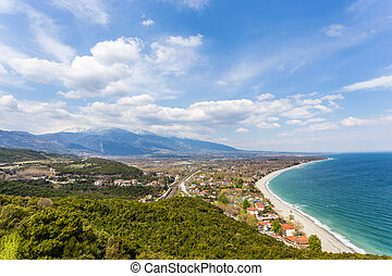top view on Platamon village from fortress wall - aerial ...