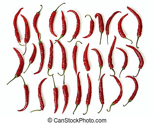 top view on red hot chili peppers