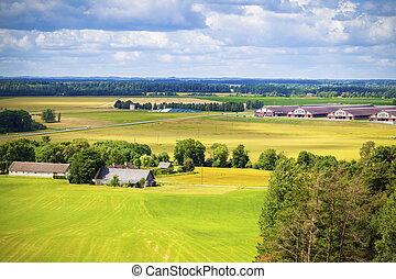 Top view on rural landscape